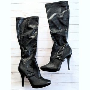 Nine West Buckled Knee High Heeled Boots EUC